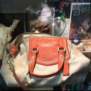 Tan Coach Bag With Orange Accents